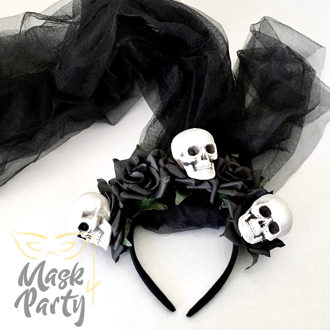 NEW - Day of the Dead - Skull Headband & Veil- Black