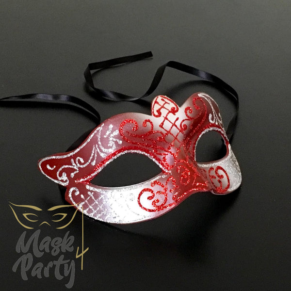NEW - Masquerade Mask - Venetian Eye - Red/Silver