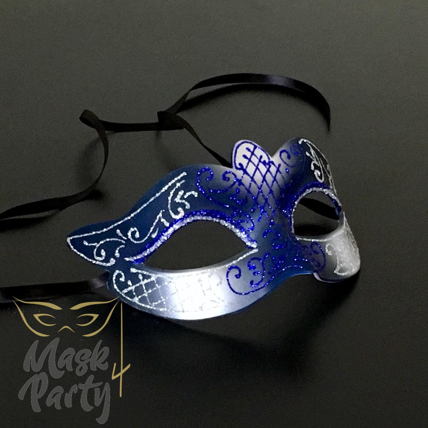 NEW - Masquerade Mask - Venetian Eye - Blue/Silver