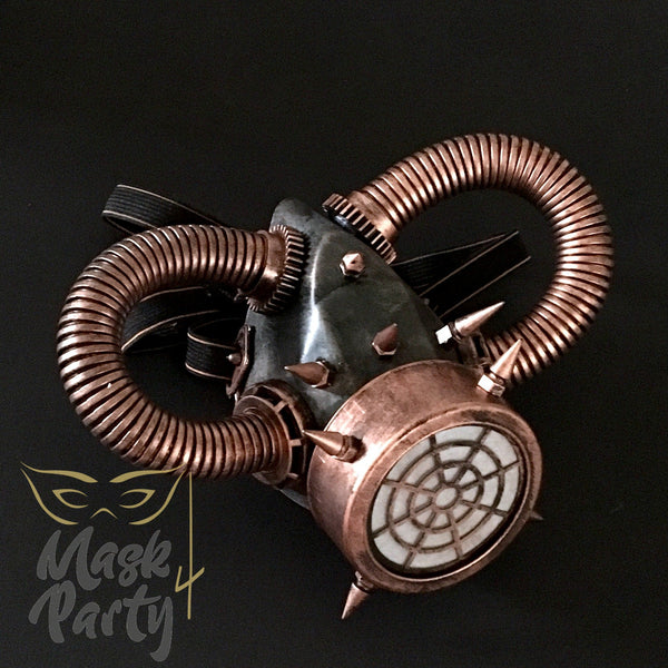 New - Steampunk - Rivet Respirator Gas - Black/Copper