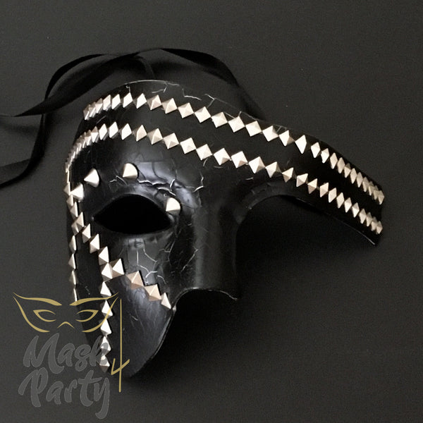 NEW - Steampunk Mask - Phantom Punk Pyramid Rivet - Black