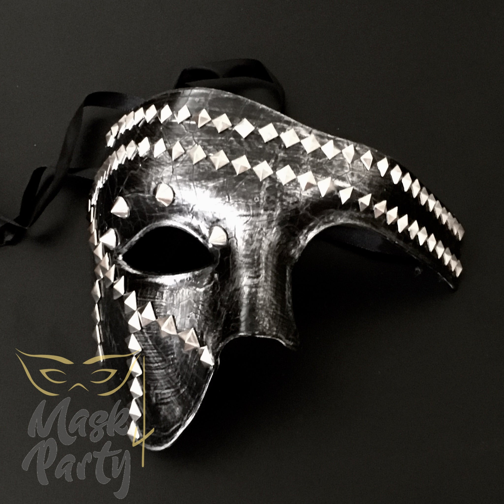 NEW - Steampunk Mask - Phantom Punk Pyramid Rivet - Black/Silver