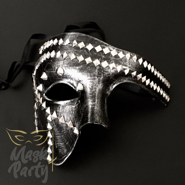 New - Steampunk - Phantom Punk Pyramid Rivet - Black/Silver