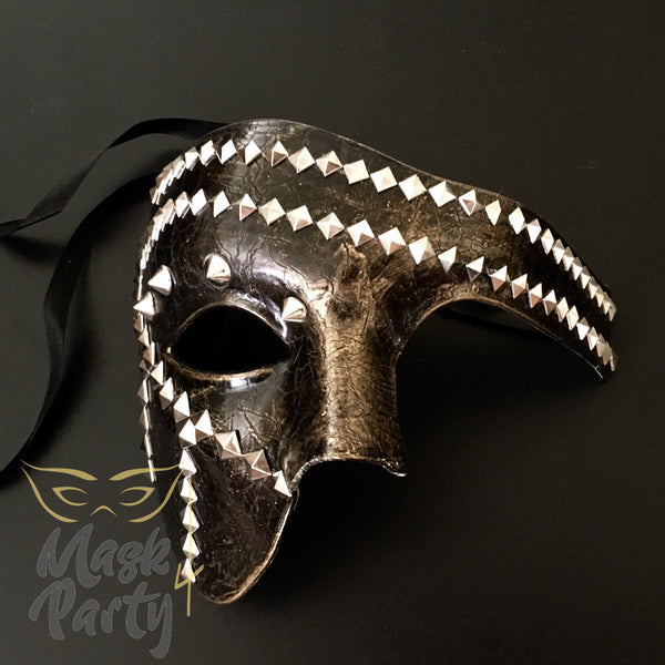 NEW - Steampunk Mask - Phantom Punk Pyramid Rivet - Black/Gold