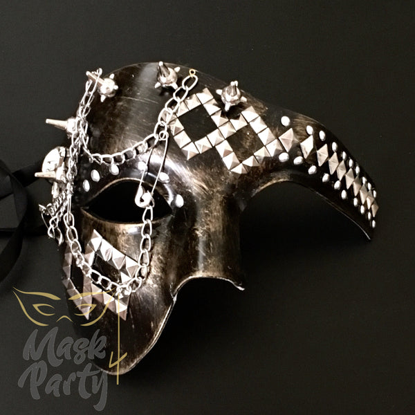 NEW - Steampunk Mask - Phantom Punk Rivet/Chain - Black/Gold