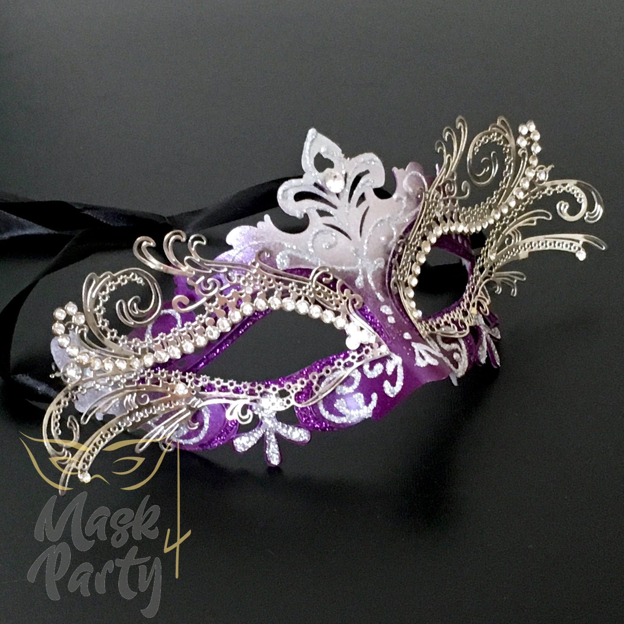 Masquerade - Venetian Luxury Metal Eye - Purple/Silver