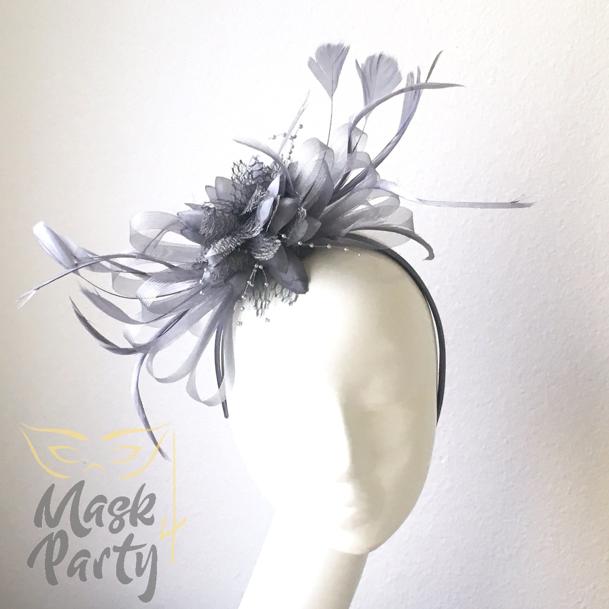 NEW - Women Headband Fascinator-  Floral & Feather - Gray