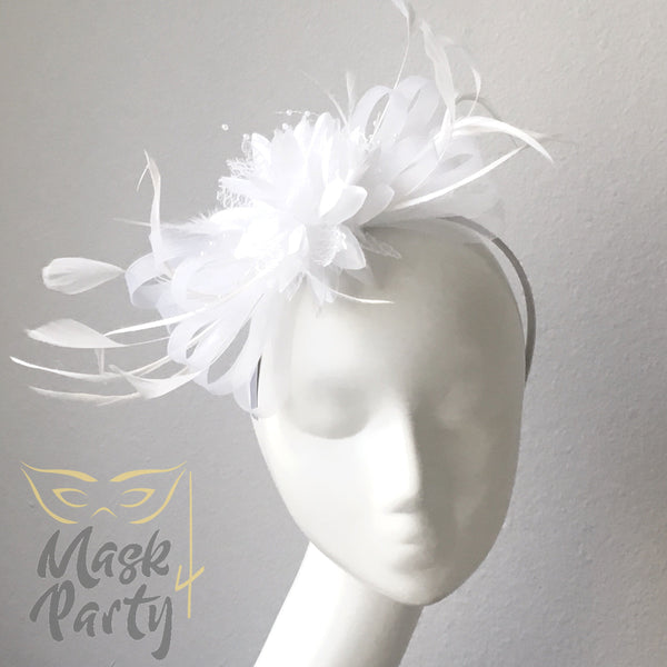 NEW - Women Headband Fascinator-  Floral & Feather - White