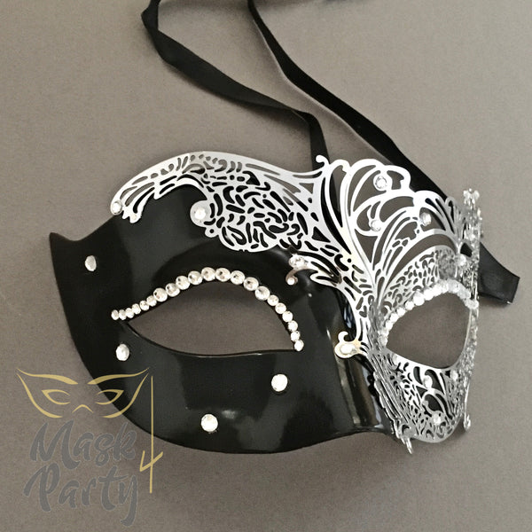 Masquerade - Venetian Filigree Eye - Black/Silver