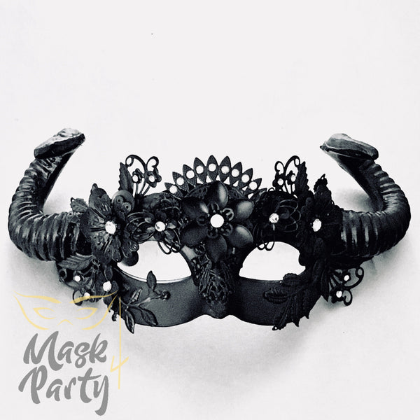 New - Steampunk - Animal Curly Horns - Black