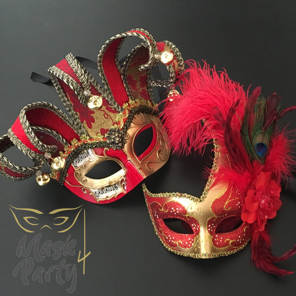 New - Masquerade- Jester & Feather - Red/Gold