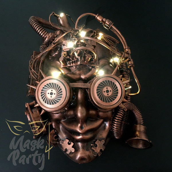 New - Steampunk - Led Light Up Flashing Full Face - Black/Copper