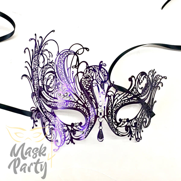 New - Masquerade - Filigree Metal Eye - Purple W/ Clear Crystal