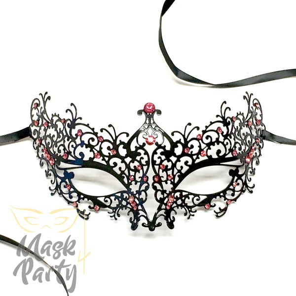New - Masquerade - Filigree Metal Eye - Black W/ Light Pink