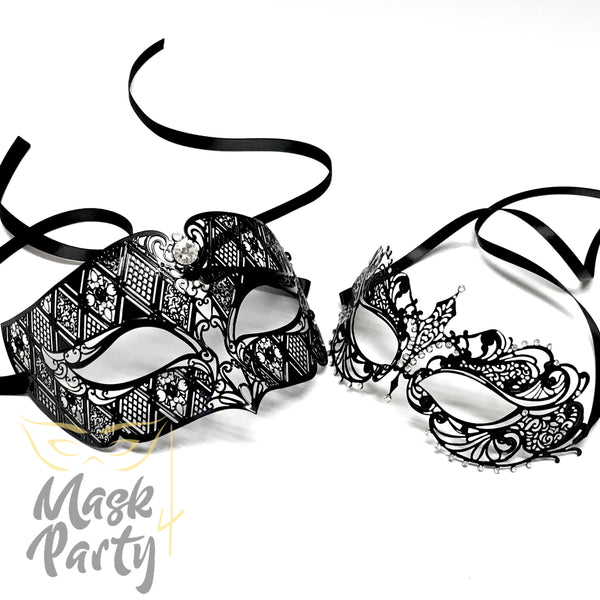 New - Masquerade - Venetian Filigree Metal - Black