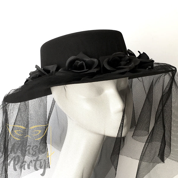 New - Day Of The Dead - Halloween Flower Hat - Black