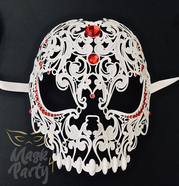 New - Masquerade - Filigree Metal Skull Full Face - White/Red