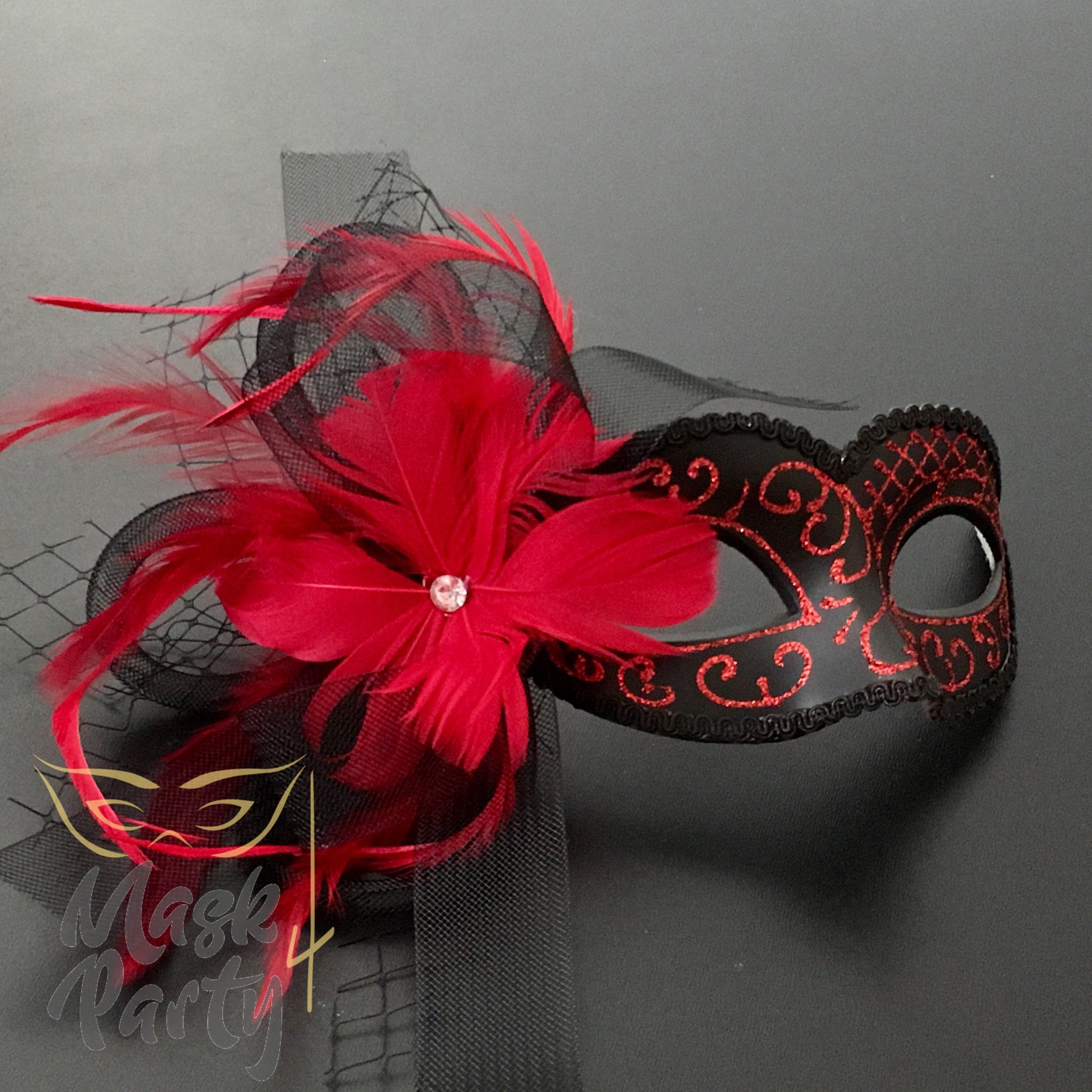 New - Masquerade - Veil W/ Feather - Red/Black