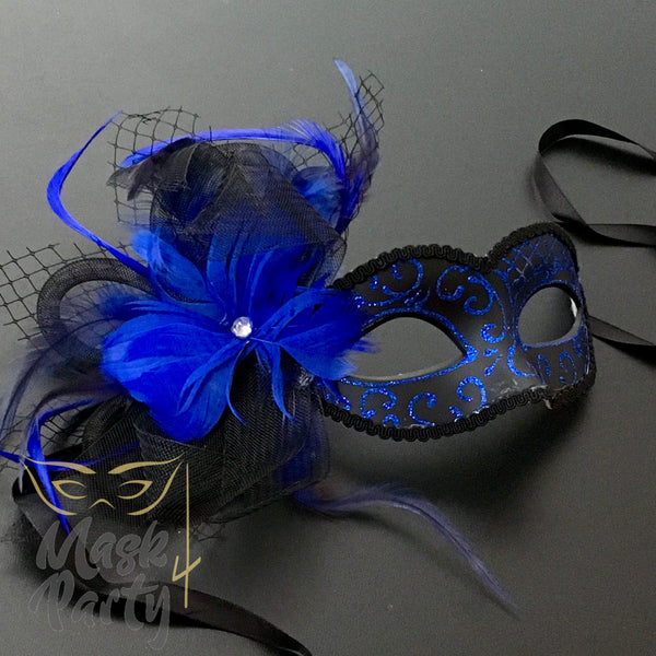 New - Masquerade - Veil W/ Feather - Blue/Black
