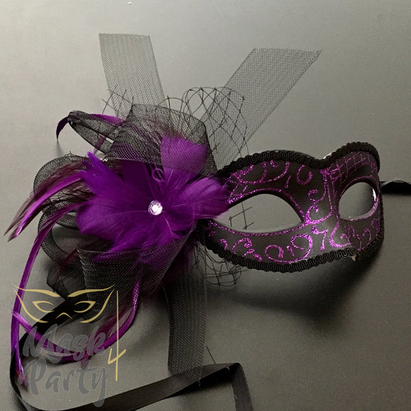 New - Masquerade - Veil W/ Feather - Purple/Black