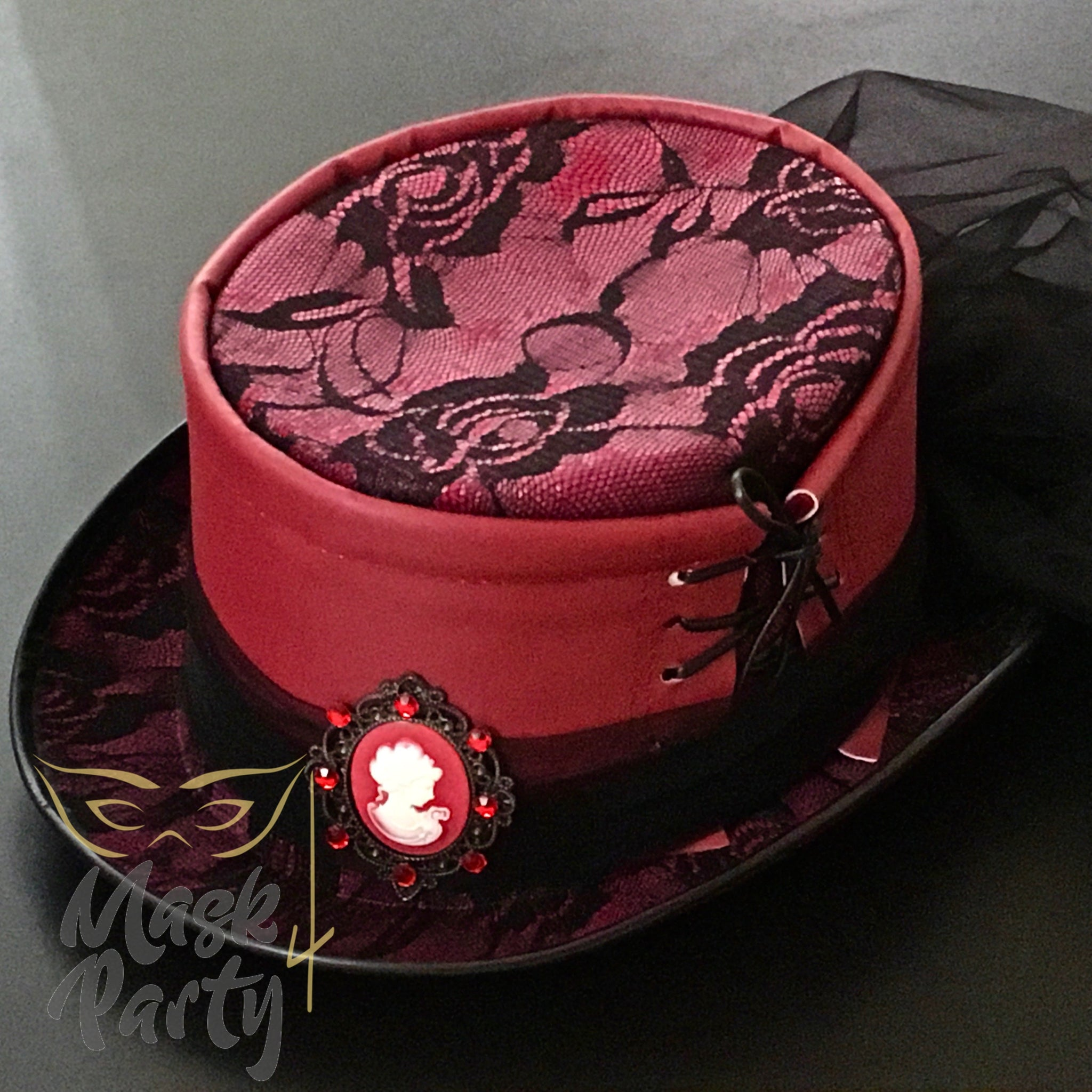 New - Steampunk Hat - Leather/Veil - Red/Black