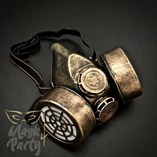 Steampunk - Rivet Respirator Gas - Black/Gold