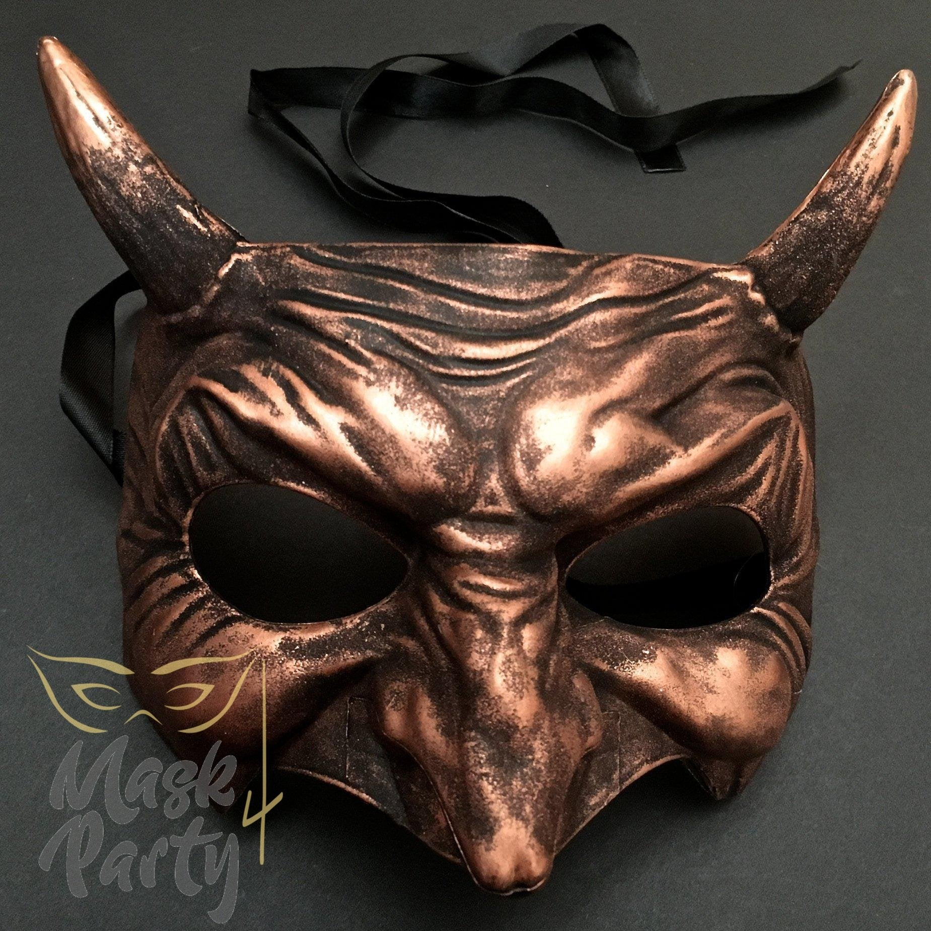 Day Of The Dead Mask - Devil Halloween - Black/Copper - Mask4Party