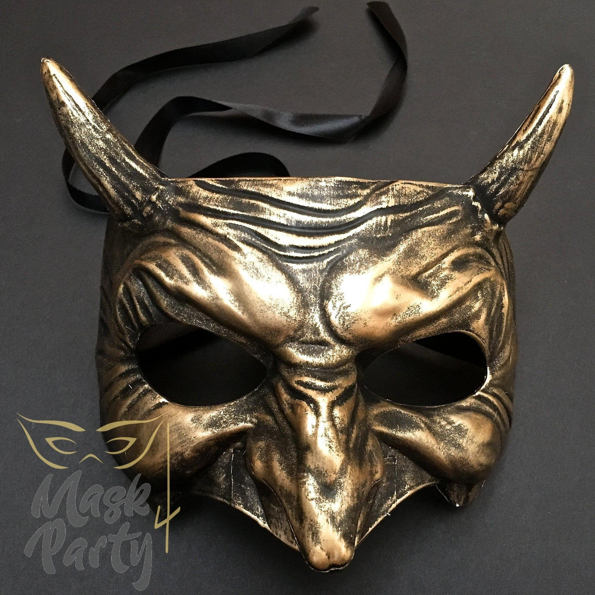 Day Of The Dead Mask - Devil Halloween - Black/Gold - Mask4Party