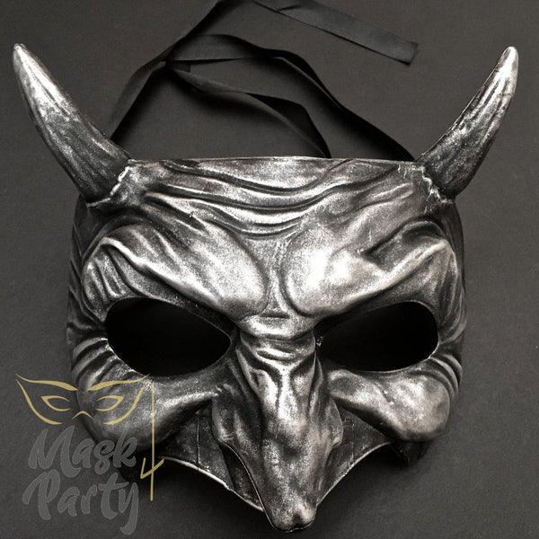 Day Of The Dead Mask - Devil Halloween - Black/Silver - Mask4Party