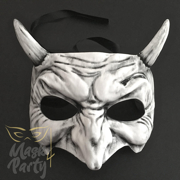 Day Of The Dead Mask - Devil Halloween - Black/White - Mask4Party