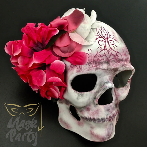 Day Of The Dead Mask - Floral Skull - White/Pink - Mask4Party