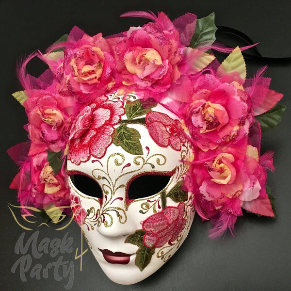 Day Of The Dead Mask - Full Face Floral Skull - White/Pink - Mask4Party