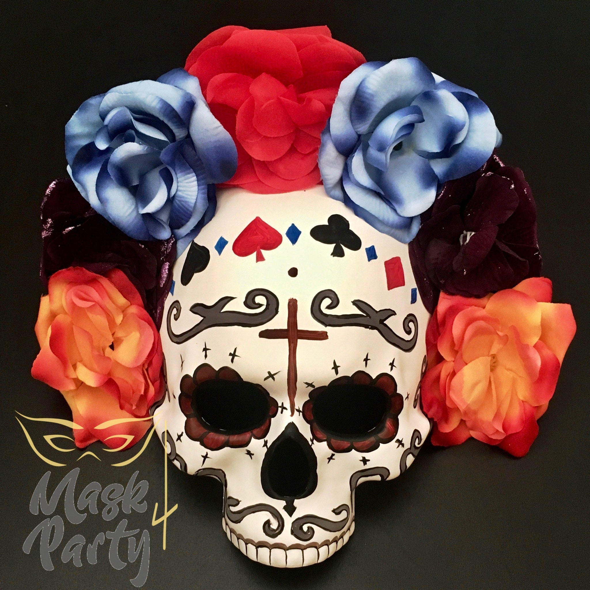 Day Of The Dead Mask - Half-Face Floral Skull - Red/Black - Mask4Party