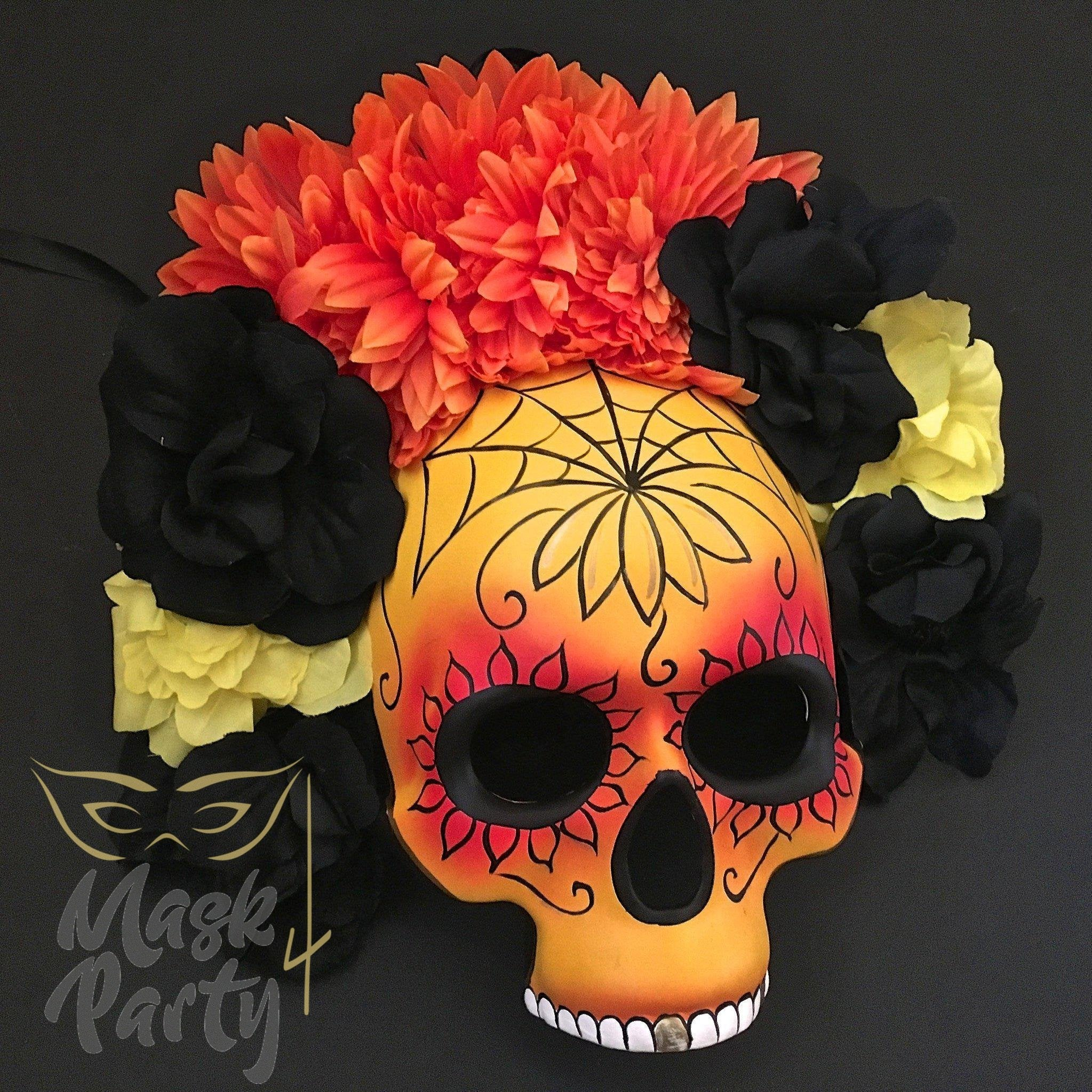 Day Of The Dead Mask - Half-Face Floral Skull - Red/Orange - Mask4Party