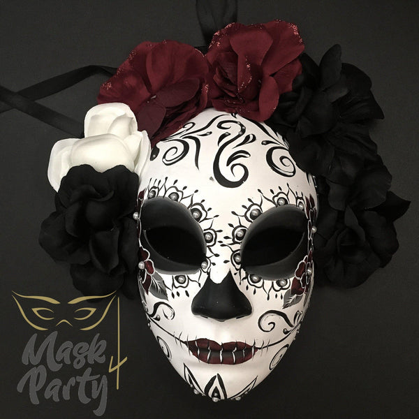 Day Of The Dead Mask - Half-Face Floral Skull - White/Black - Mask4Party