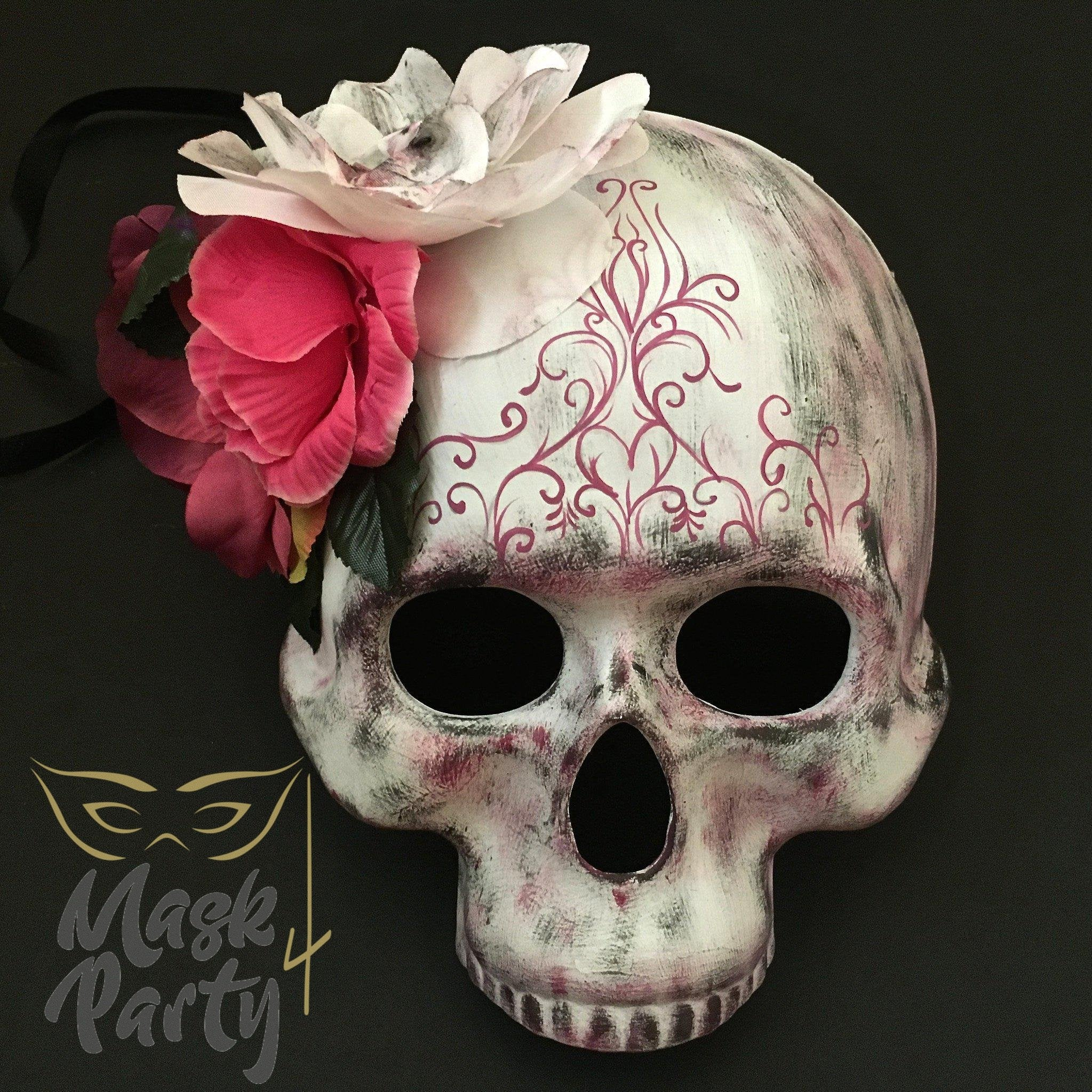 Day Of The Dead Mask - Half-Face Floral Skull - White/Pink - Mask4Party