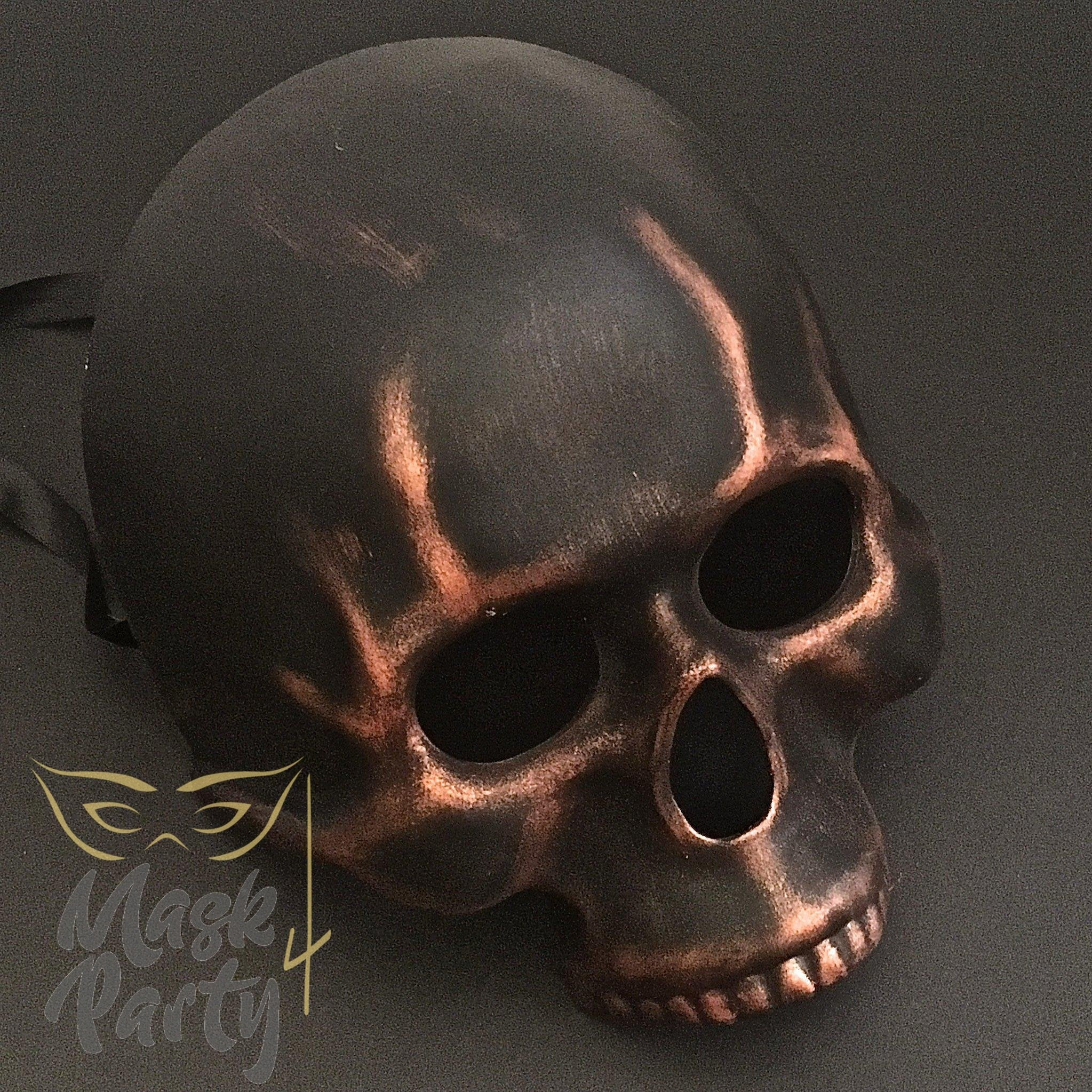 Day Of The Dead Mask - Half-Face Skull - Black/Copper - Mask4Party