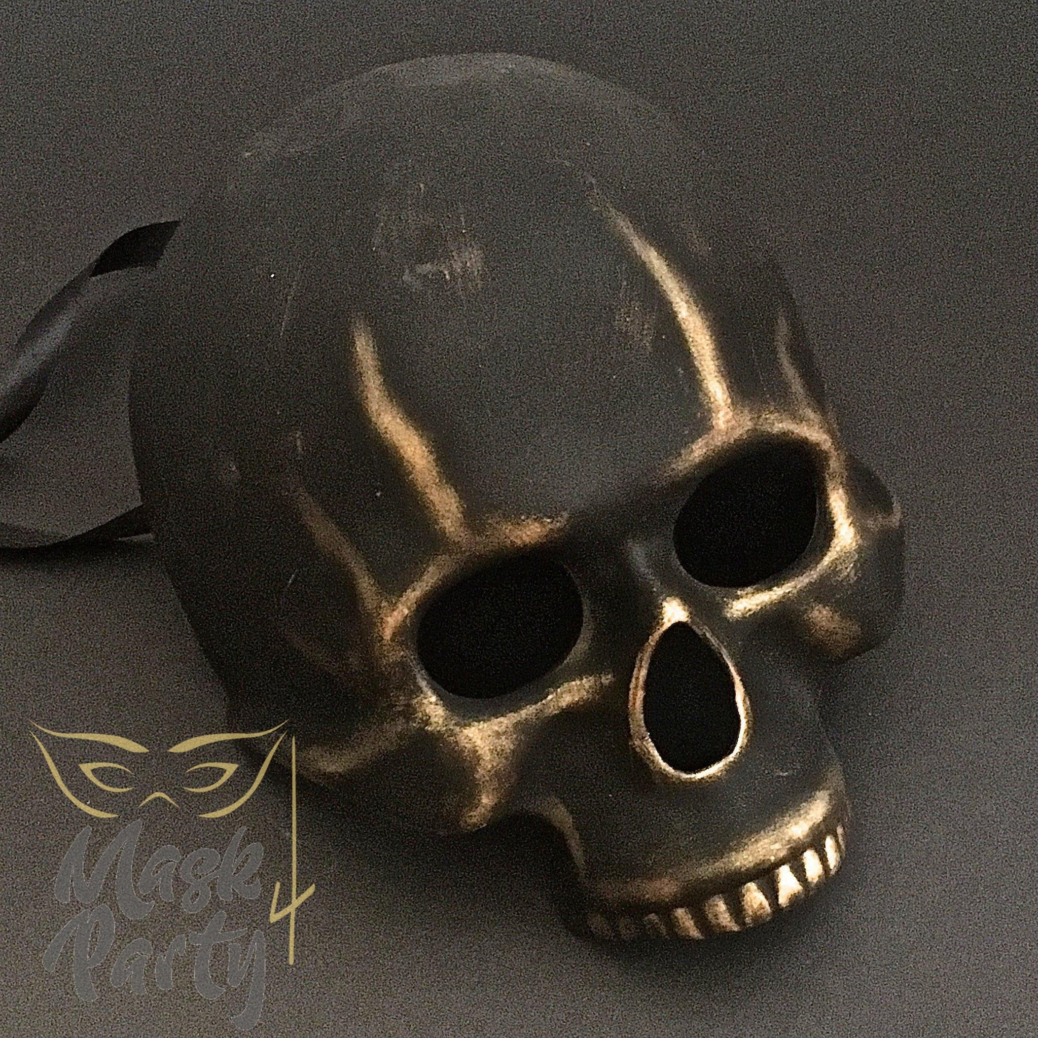 Day Of The Dead Mask - Half-Face Skull - Black/Gold - Mask4Party