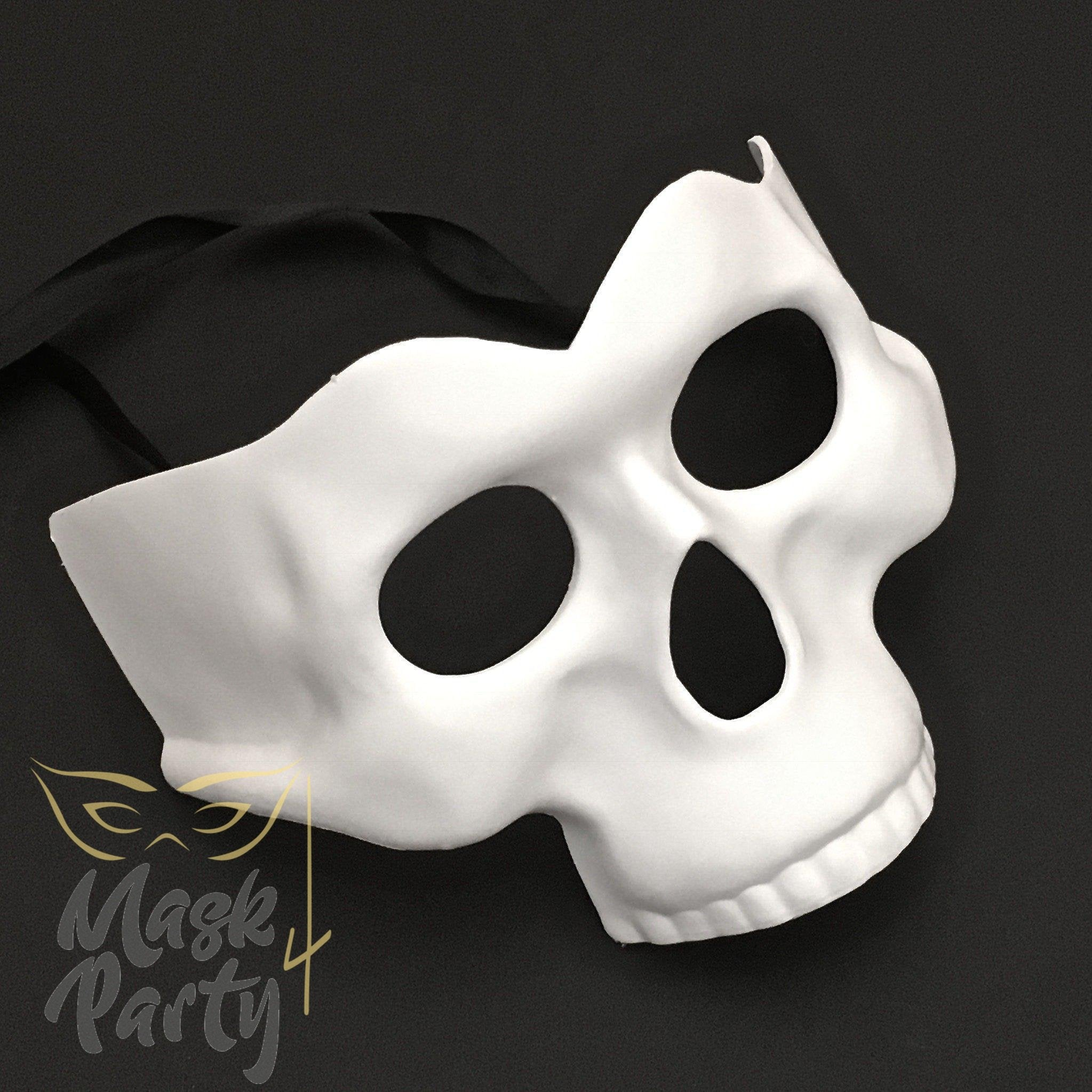 Day Of The Dead Mask - Half-Face Skull - White - Mask4Party