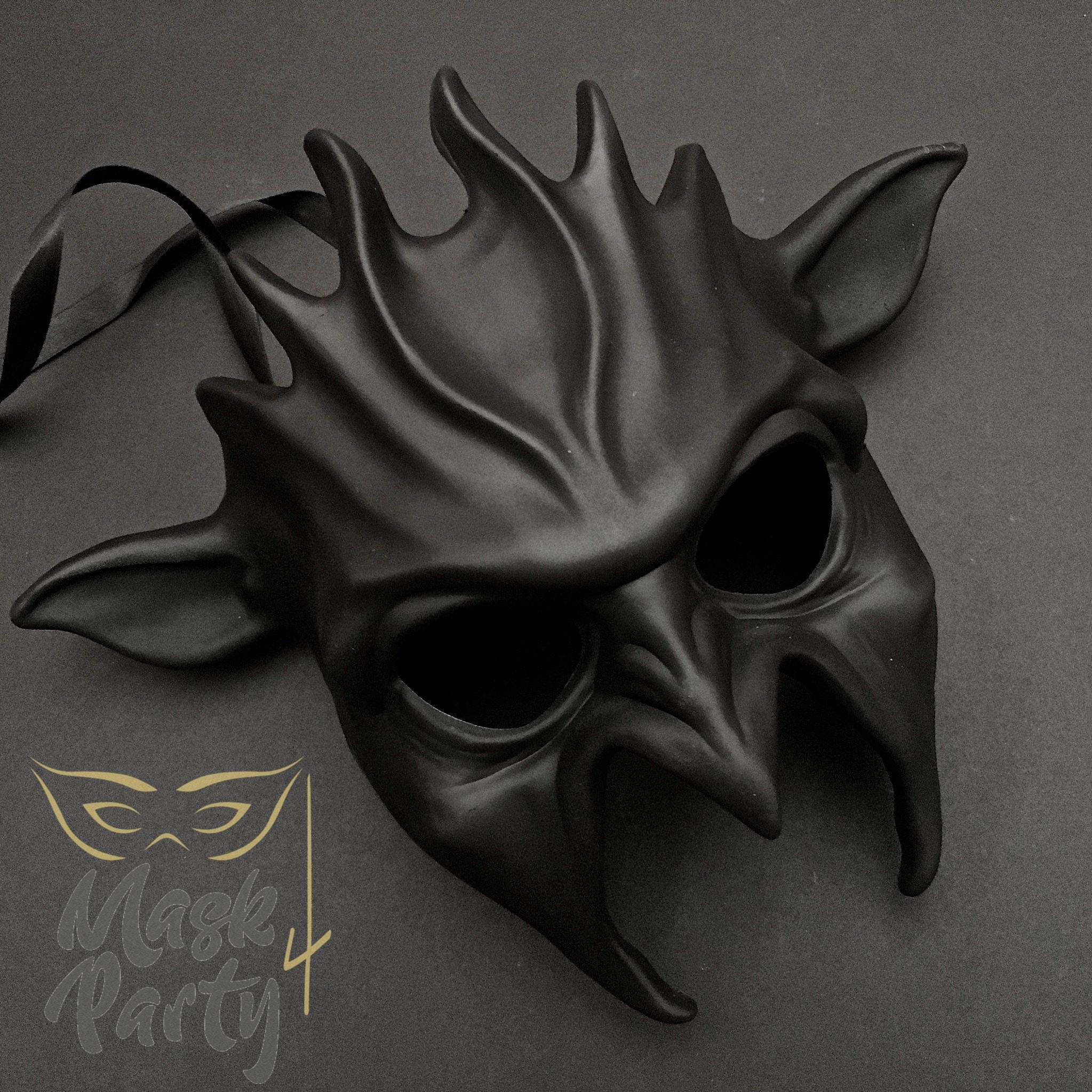 Day Of The Dead Mask - Halloween Devil - Black - Mask4Party