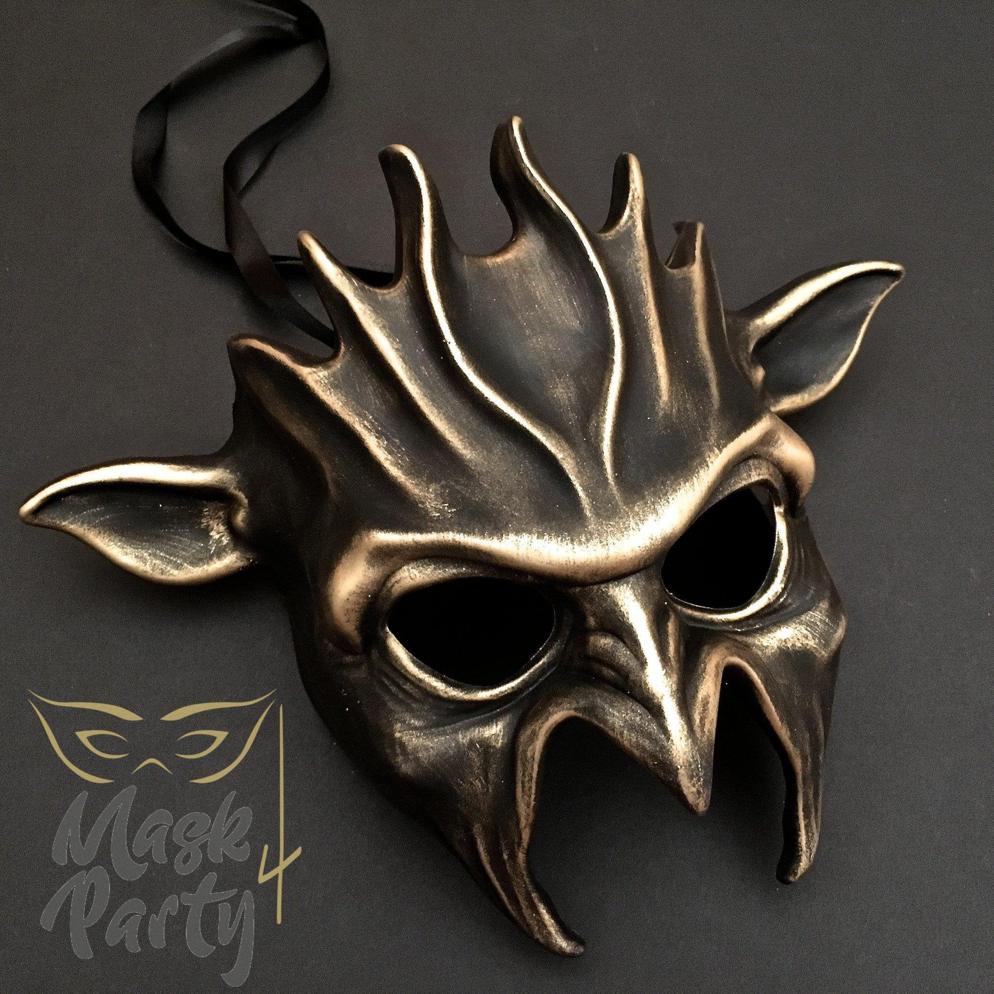 Day Of The Dead Mask - Halloween Devil - Black/Gold - Mask4Party