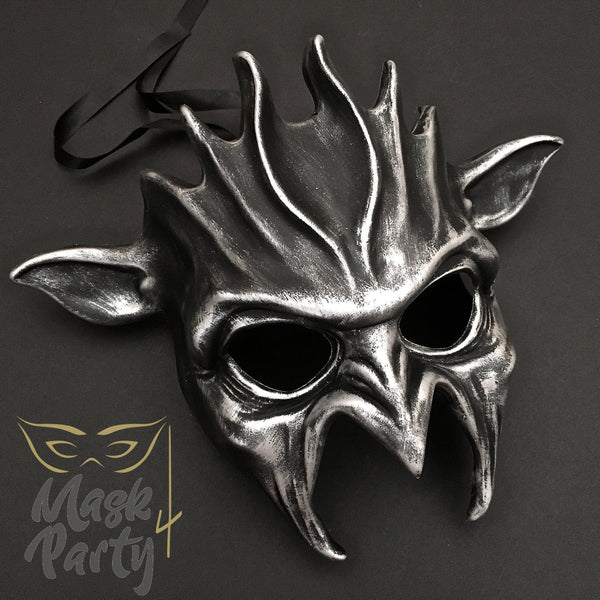 Day Of The Dead Mask - Halloween Devil - Black/Silver - Mask4Party
