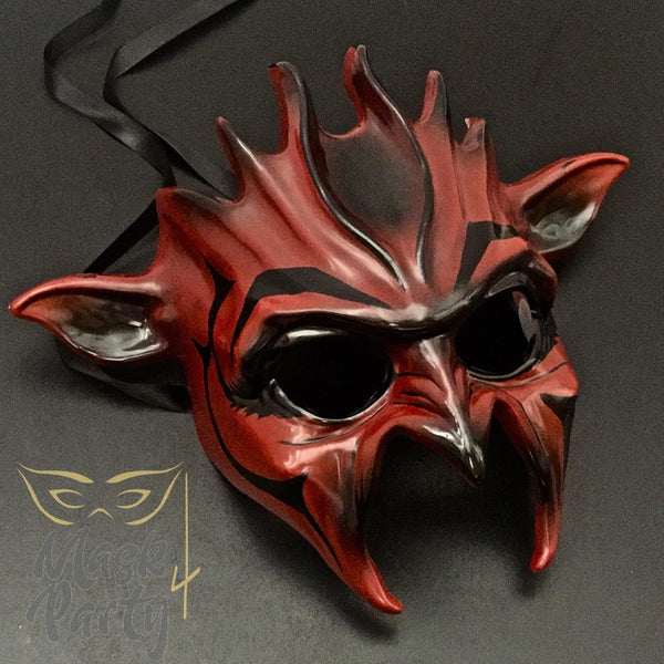 Day Of The Dead Mask - Halloween Devil - Burgundy - Mask4Party