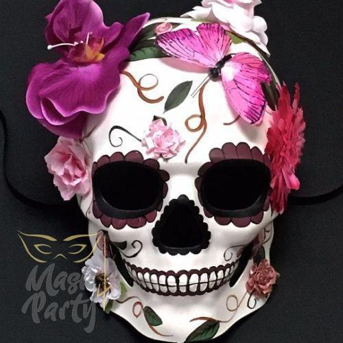 Day Of The Dead Mask - Halloween Floral Skull - White & Pink - Mask4Party