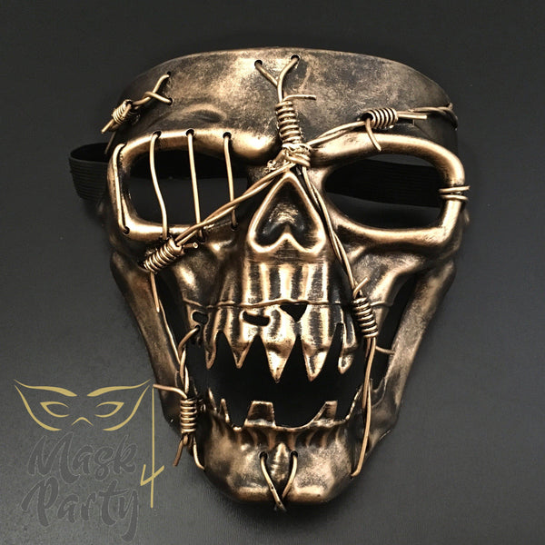 Day Of The Dead Mask - Halloween Skull - Black/Gold - Mask4Party