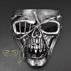 Day Of The Dead Mask - Halloween Skull - Black/Silver - Mask4Party