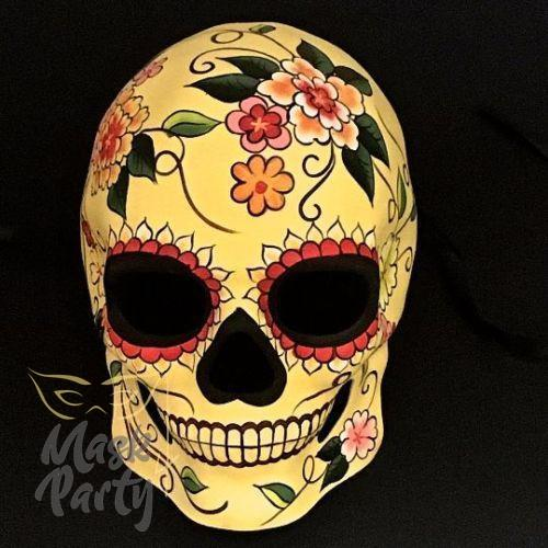 Day Of The Dead Mask - Halloween Skull - Yellow/Red - Mask4Party