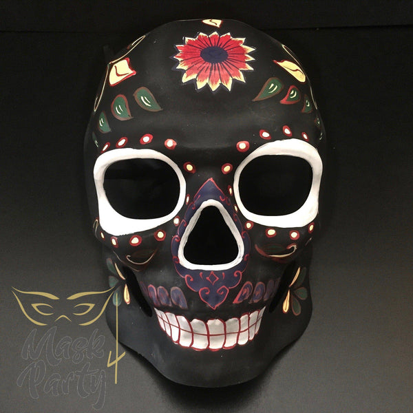 Day of the Dead Mask - Halloween Sugar Skull - Black/Red - Mask4Party