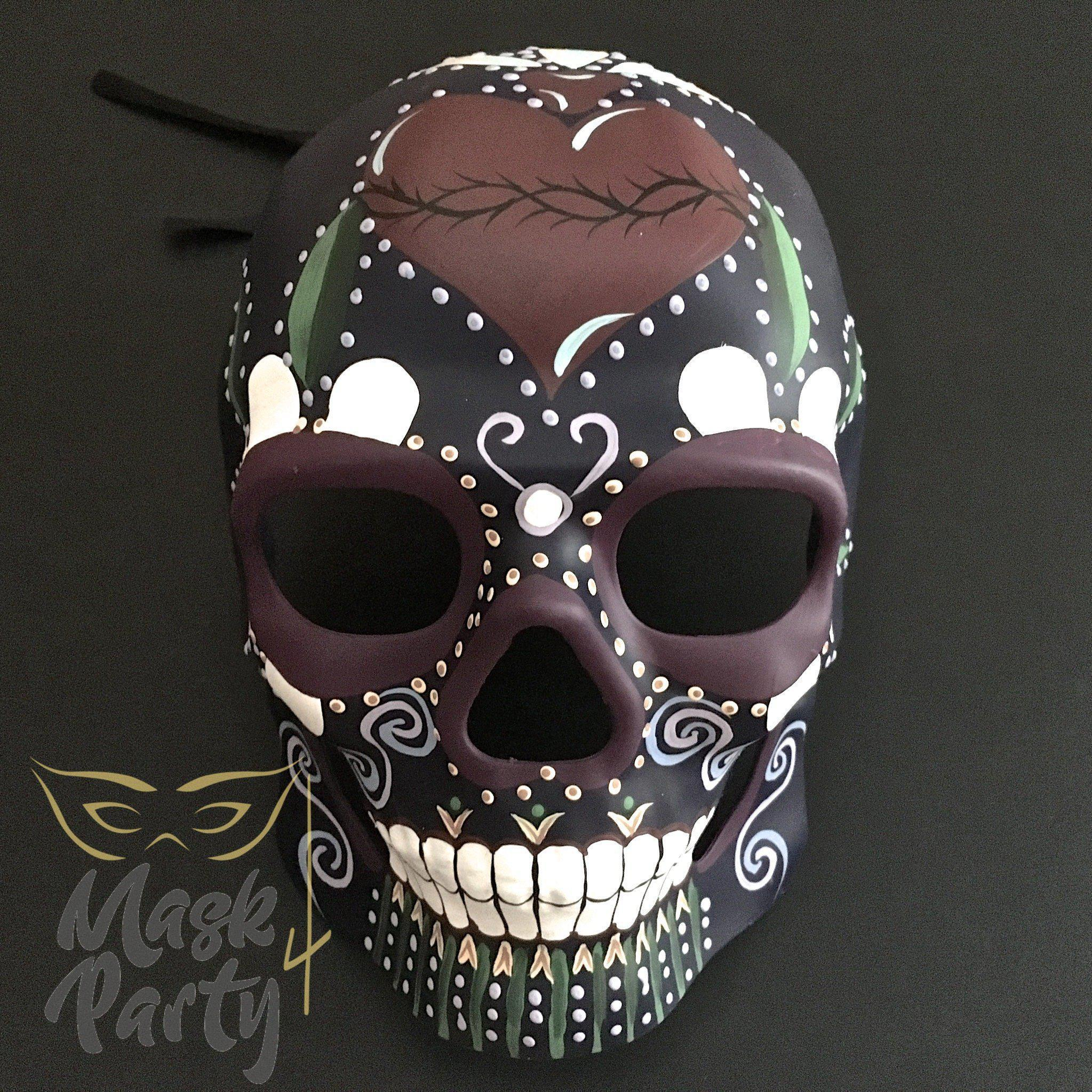 Day of the Dead Mask - Halloween Sugar Skull - Dark Purple - Mask4Party