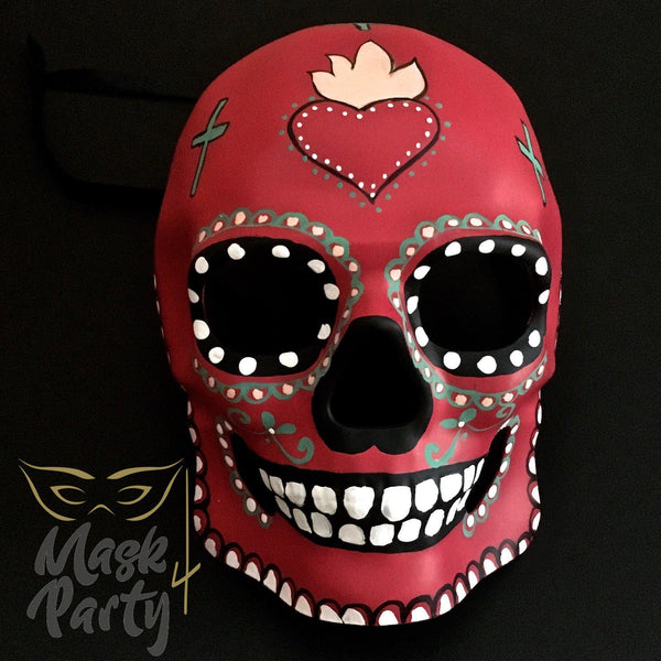 Day of the Dead Mask - Halloween Sugar Skull - Red - Mask4Party